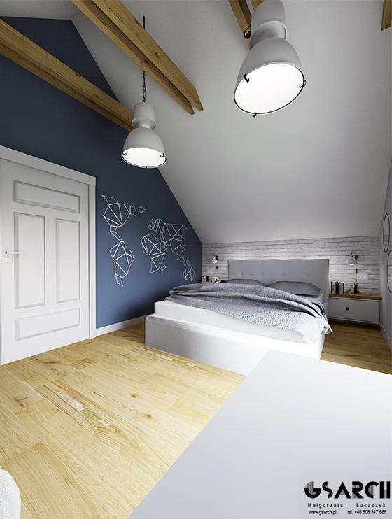 Niebieski na ścianie w sypialni