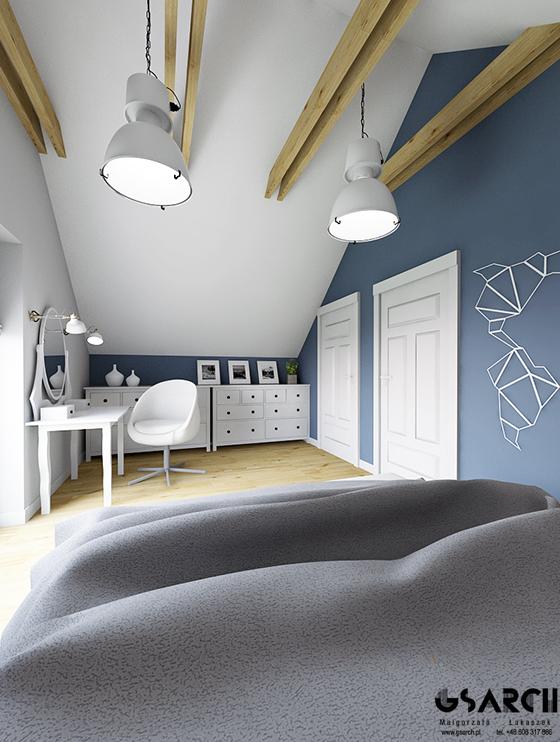 Niebieski w sypialni